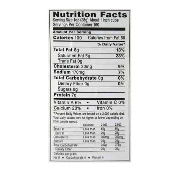Queso Monterrey Jack nutrition facts diaco el salvador