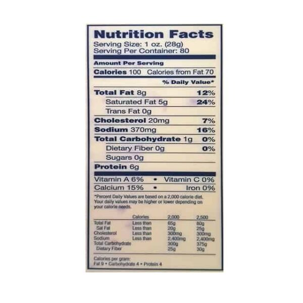 Queso Pepper Jack nutrition facts lacteo el salvador diaco
