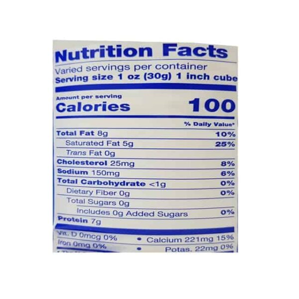 Queso Provolone Barra nutrition fact