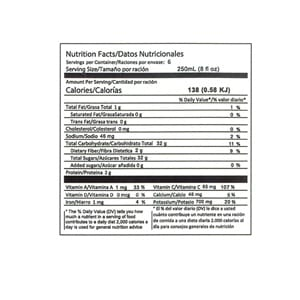 Dr. Juice Jugo de Naranja Zanahoria nutrition facts